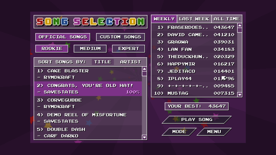 Chiptune Champion Song Selection